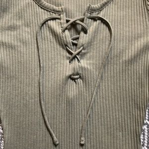 Madewell Tops - Madewell Olive Lace Up Bodysuit Size Small